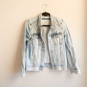 H&M distressed Jewel embellished Jean Jacket